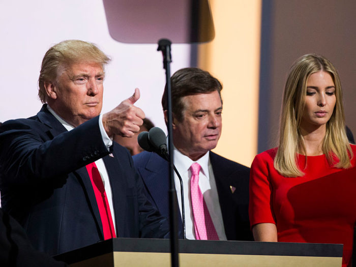 CLEVELAND, OH - JULY 21: Republican nominee Donald Trump, Campaign Manager Paul Manafort, and his daughter Ivanka Trump do a walk thru at the Republican Convention, July 20, 2016 at the Quicken Loans Arena in Cleveland, Ohio. (Photo by Brooks Kraft/ Getty Images)