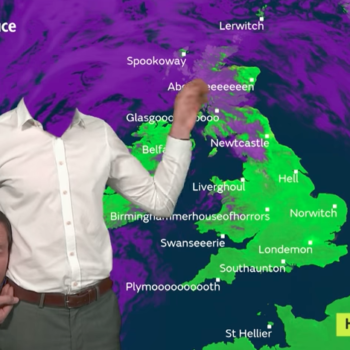 "This headless weatherman will give you a ""heads up"" on Halloween's forecast"
