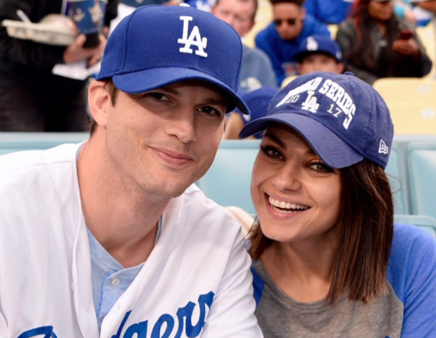 Mila Kunis and Ashton Kutcher were the ultimate married couple at the Dodgers game