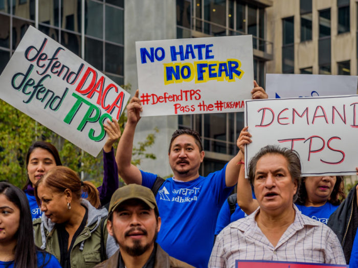 26 FEDERAL PAZA, NEW YORK, UNITED STATES - 2017/11/06: On the day of the likely decision of the State Department recommendation to end TPS for Central America and Haiti, November 6, 2017; immigrants, allies and elected officials gathered to rally in New York City to demand that the Department of Homeland Security (DHS) extend Temporary Protected Status (TPS) for hundreds of thousands of program beneficiaries. (Photo by Erik McGregor/Pacific Press/LightRocket via Getty Images)