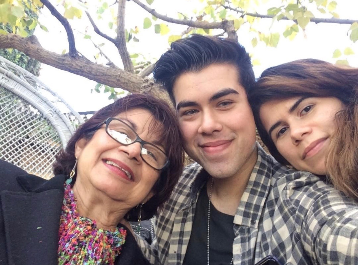 Sanchez with her mother and brother