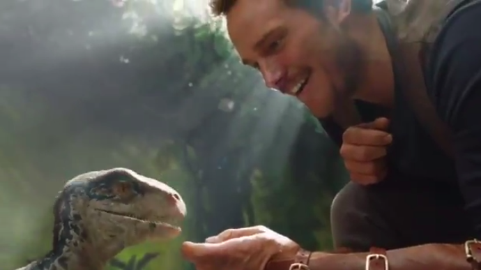 "The first footage of ""Jurassic World 2"" is here, and it's just Chris Pratt petting a dinosaur"