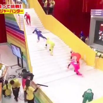 """The Internet is absolutely obsessed with a Japanese game show called """"Slippery Stairs"""""""