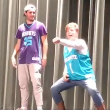 "This mother-son ""History of Dance"" routine won over the school talent show AND the internet"