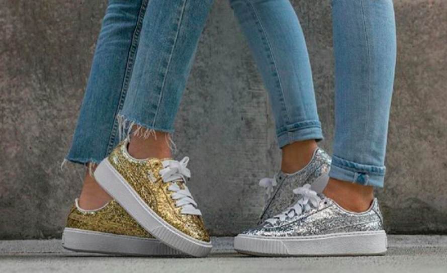 7f606d0018b901 Puma released a glittery version of the classic Basket sneaker -  HelloGiggles