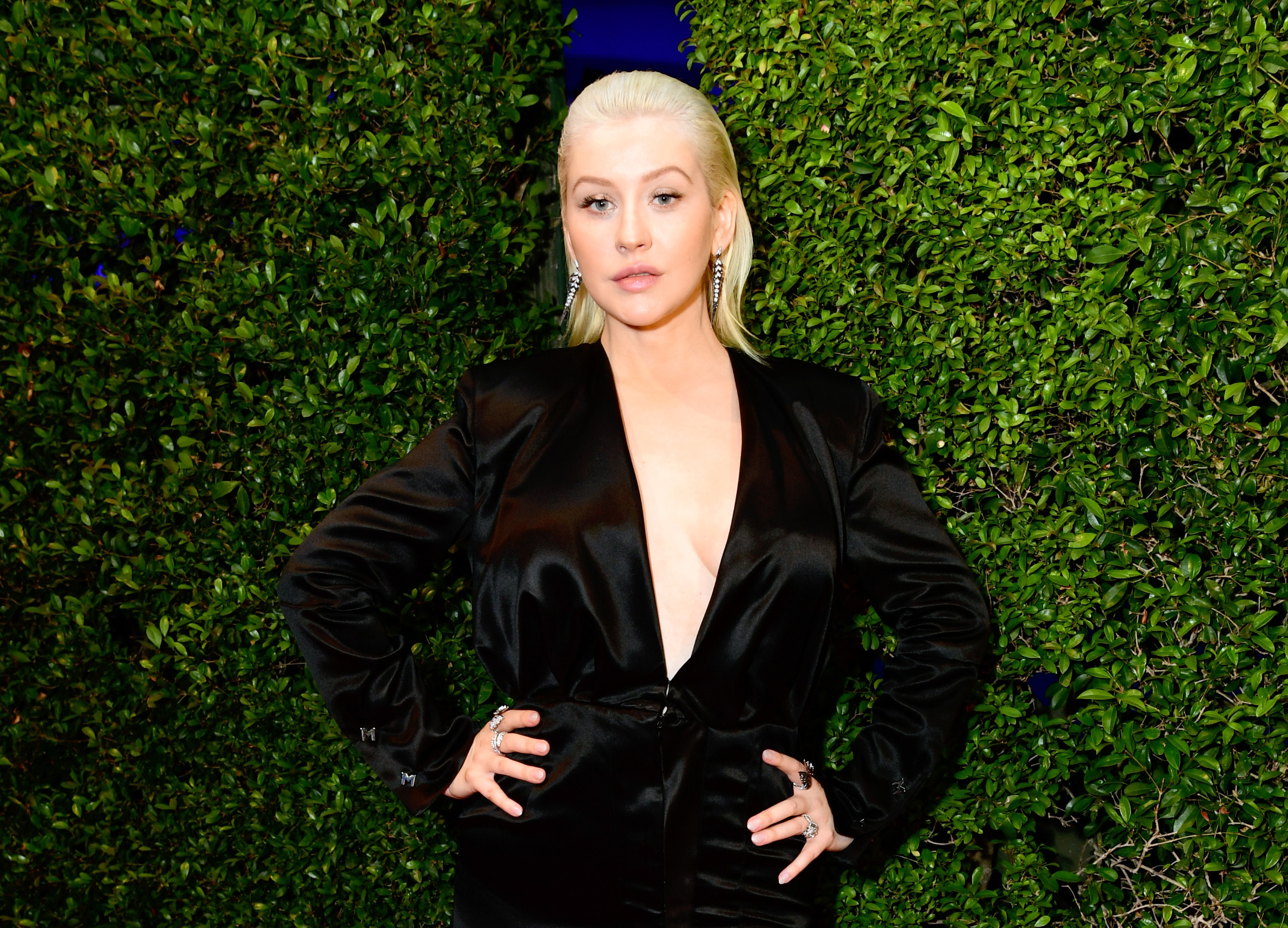 Christina Aguilera's daughter is basically a smaller mirror image of her mom