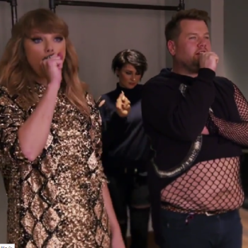 """James Corden """"filled in"""" as Taylor Swift's backup dancer, and we needed this"""