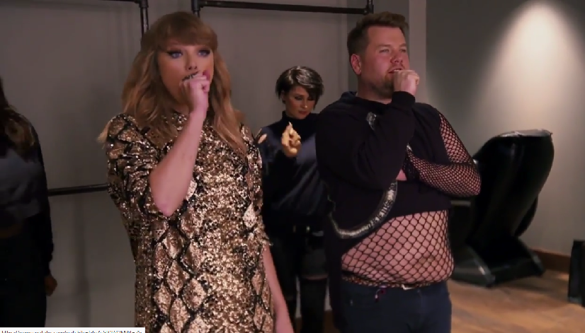 "James Corden ""filled in"" as Taylor Swift's backup dancer, and we needed this"