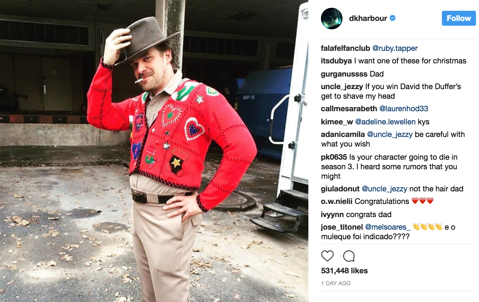 pictures Stranger Things Joe Kerry Threatens to Shave His Head If David Harbour Wins a Golden Globe