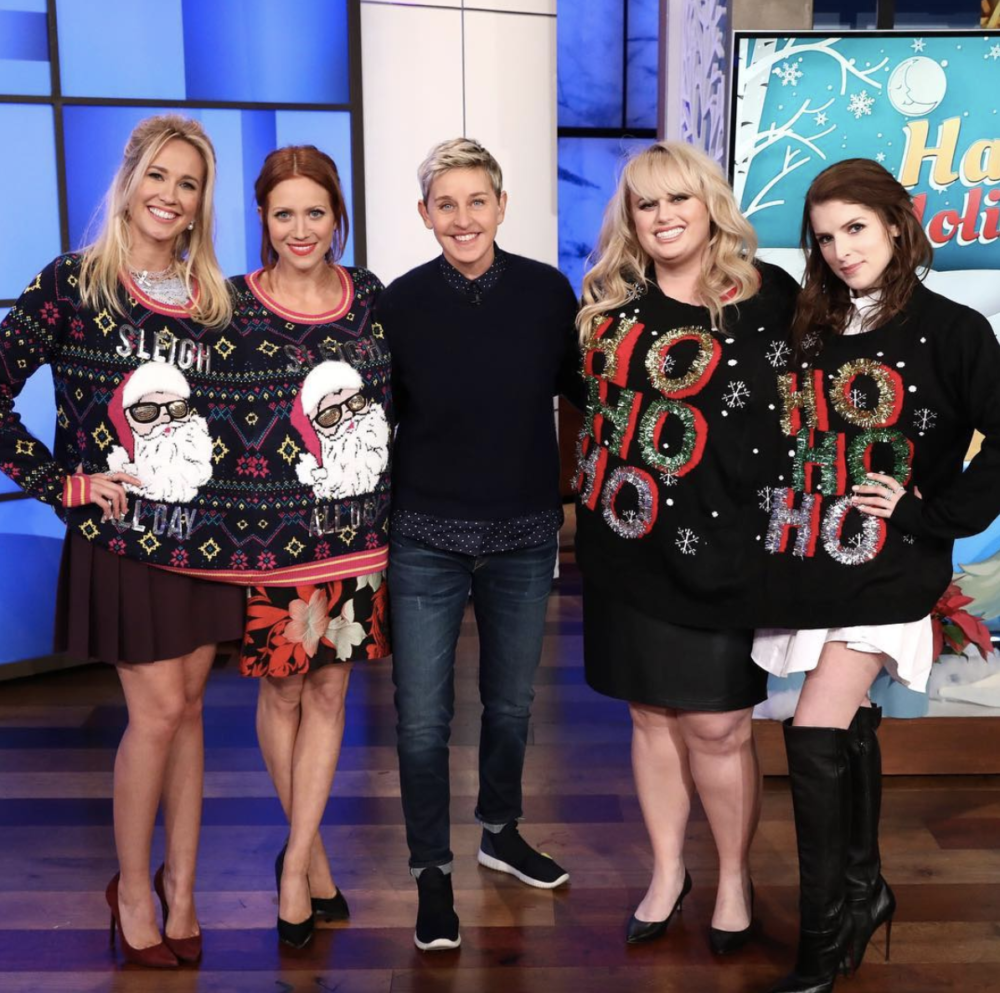 "Watch the cast of ""Pitch Perfect"" try, and fail, to play Heads Up with Ellen DeGeneres while wearing giant sweaters"