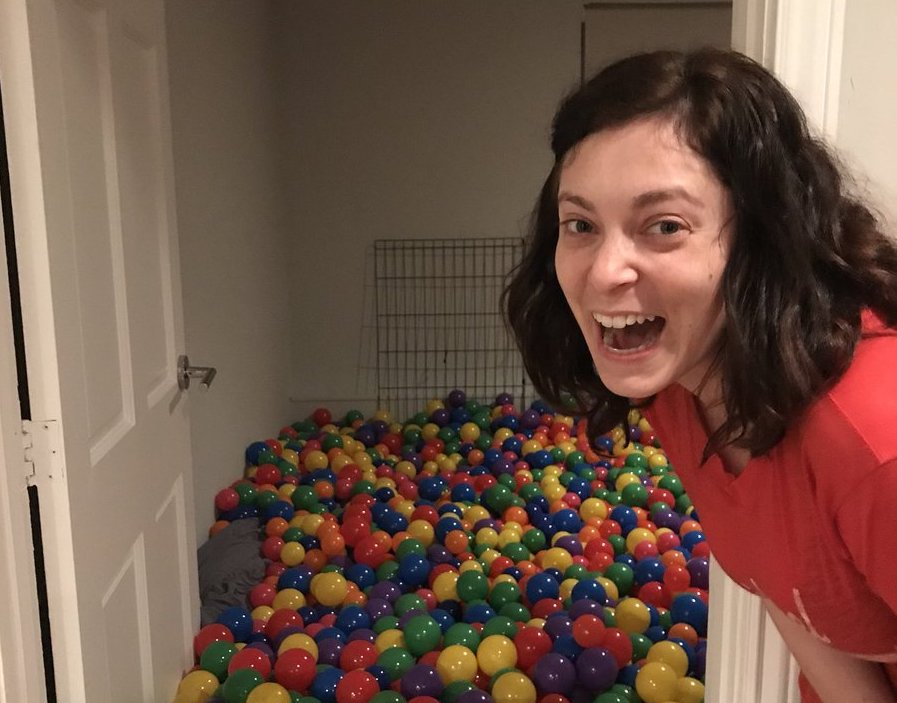 Rachel Bloom built a ball pit in her basement, and can we come over?
