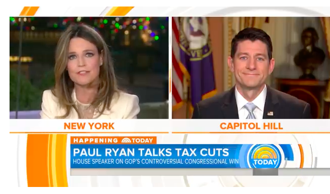 "Savannah Guthrie grilled Paul Ryan on the GOP tax plan, asked if he was ""living in a fantasy world"""