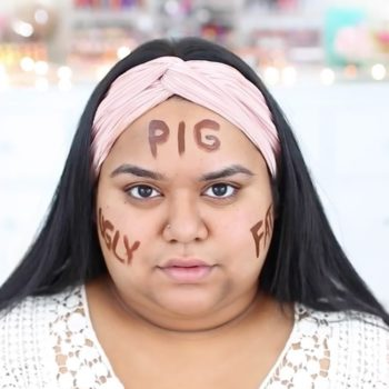 """This beauty vlogger wrote """"Pig"""" on her face to make a point about self-love"""