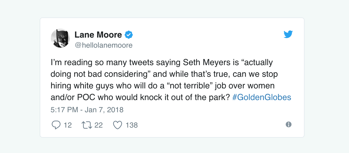 These scathing tweets about Seth Meyers hosting the Golden Globes are spot on