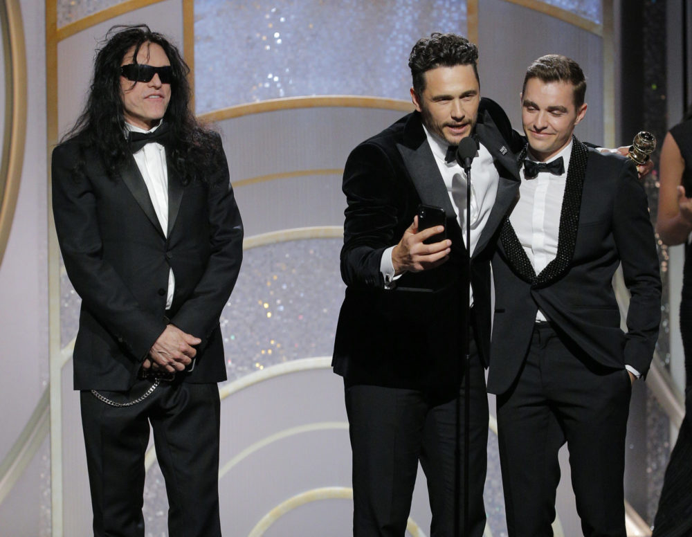 James Franco awkwardly snubbed Tommy Wiseau on stage at the Golden Globes