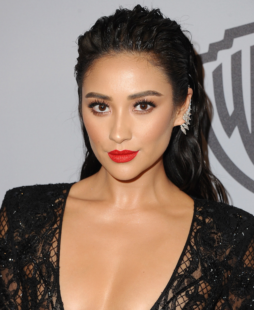 Shay Mitchell wore Kat Von D Beauty's new Studded Kiss lipstick at the Golden Globes after-party