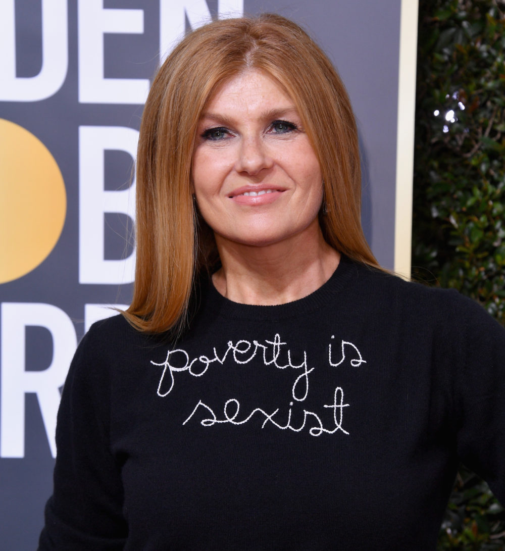 "If you're mad that Connie Britton's ""Poverty Is Sexist"" shirt costs $380, she has a response for you"