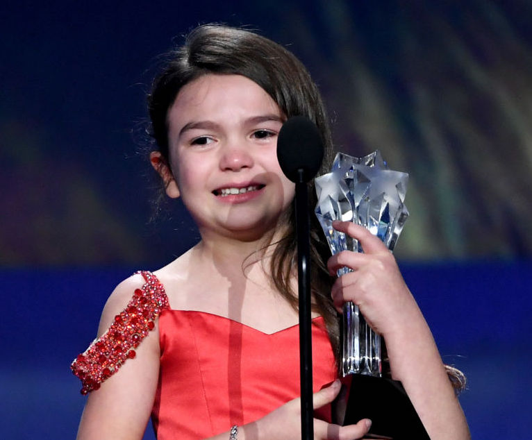 Seven-year-old Brooklynn Prince teared up while accepting her Critics' Choice Award
