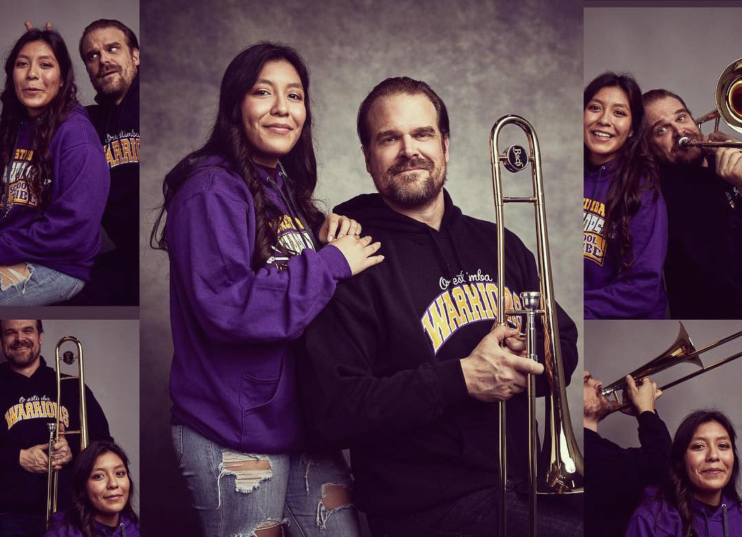 David Harbour did it, as in he really took a high school yearbook picture with the fan who asked