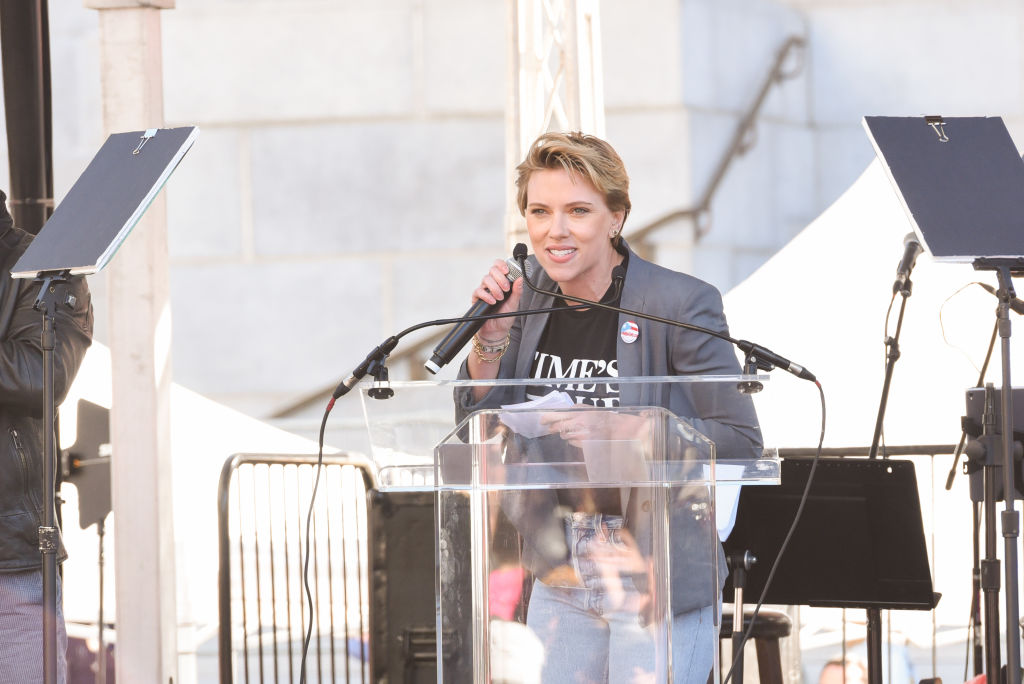 Scarlett Johansson dragged James Franco in her speech at the 2018 Women's March