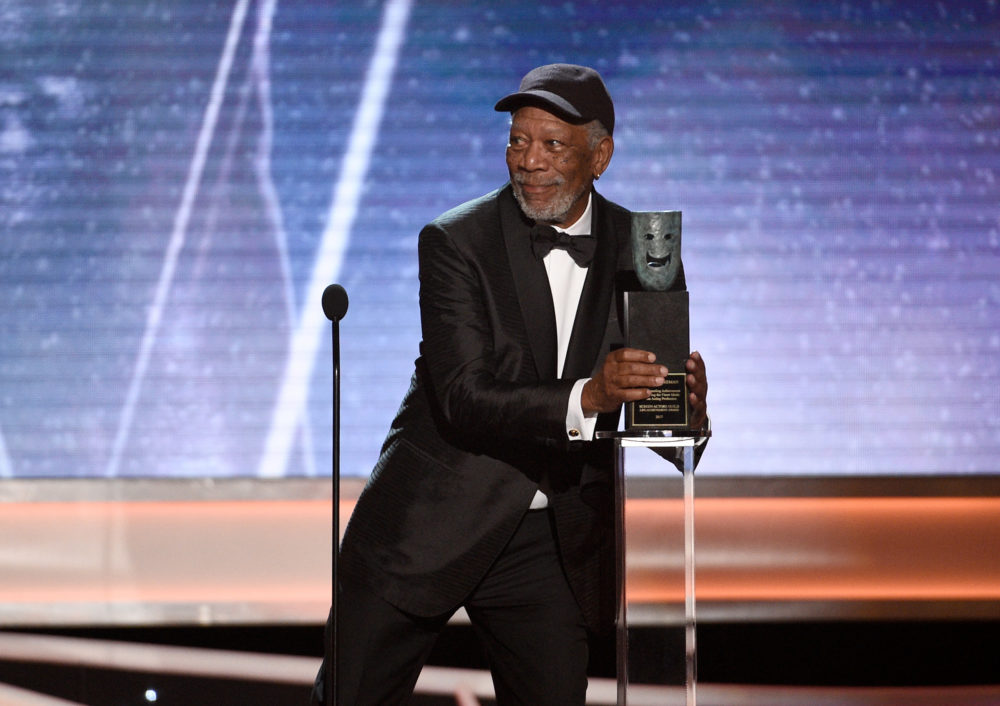 People are obsessed with the fact that Morgan Freeman wore a baseball hat to the 2018 SAG Awards