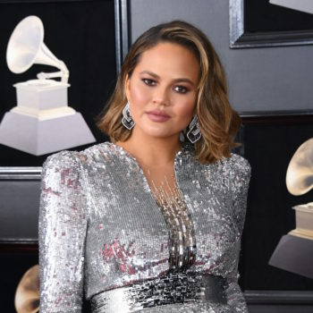 Chrissy Teigen's silver dress at the 2018 Grammys should honestly win an award