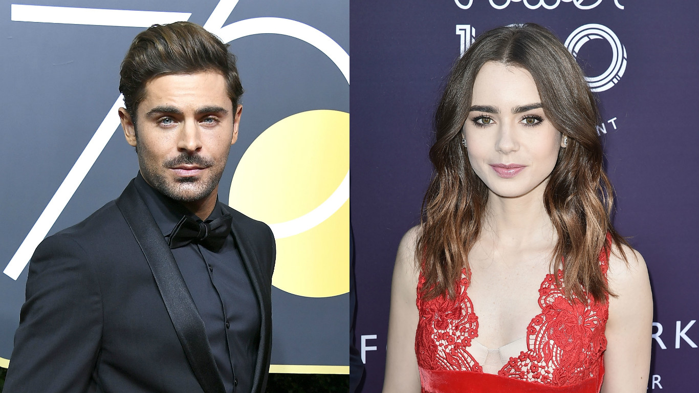 Zac Efron shared a photo of him on set with Lily Collins, and they look this in love because she doesn't know he's a murderer