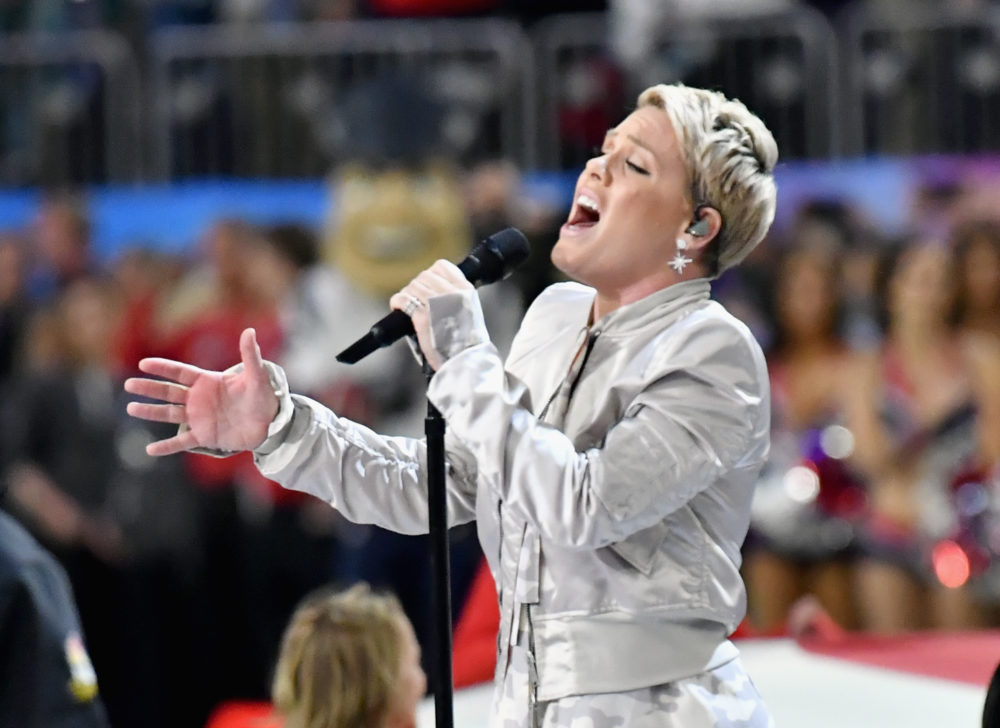 Pink wants you to know she absolutely did not spit out gum during her Super Bowl performance