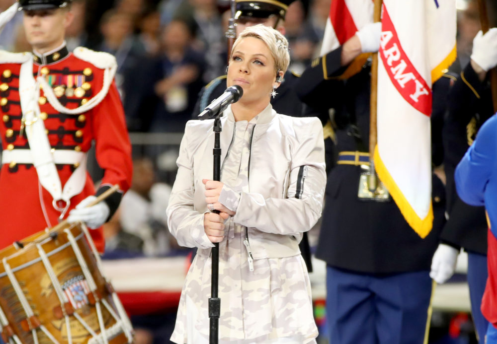 Here's the video of Pink slaying her national anthem performance — with the flu, no less