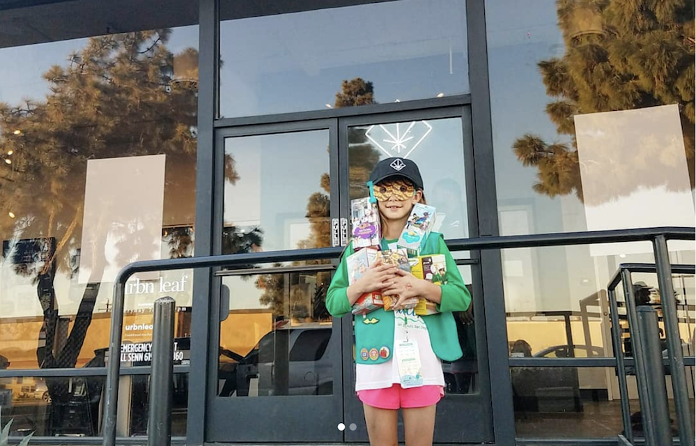 A girl scout sold hundreds of cookies outside a marijuana dispensary, and that's just savvy