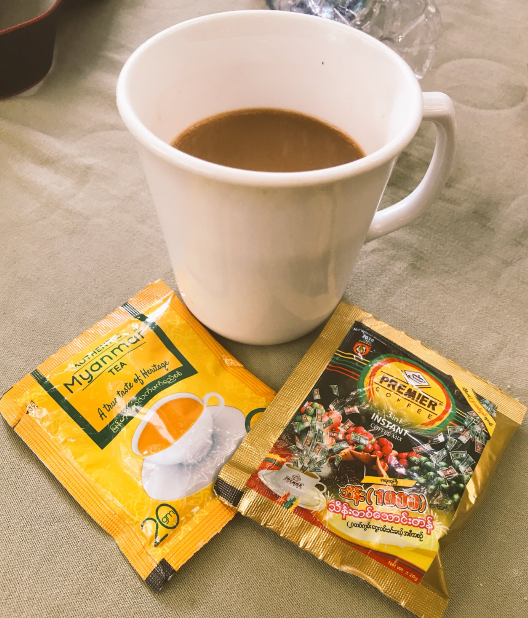 The packets of instant Myanmar tea and coffee my cousin brought back