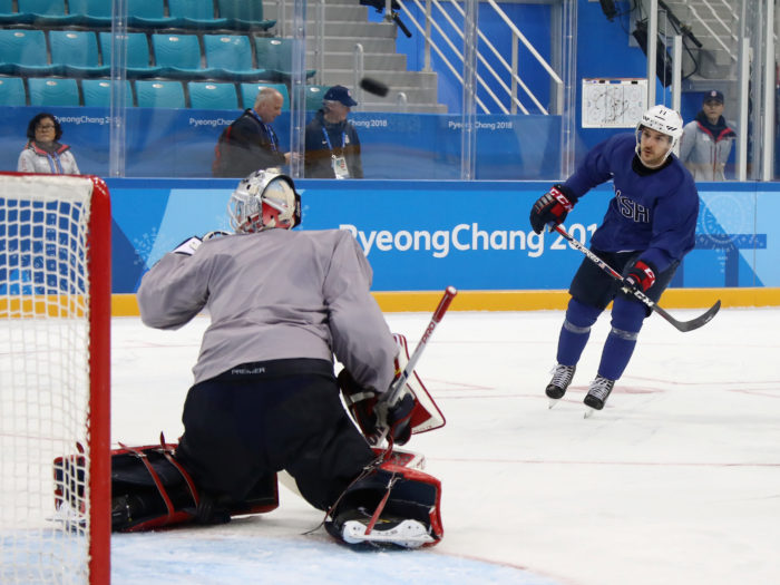 A shot by Garrett Roe #11 of the Men's USA Ice Hockey Team goes over the net ahead of the PyeongChang 2018 Winter Olympic Games