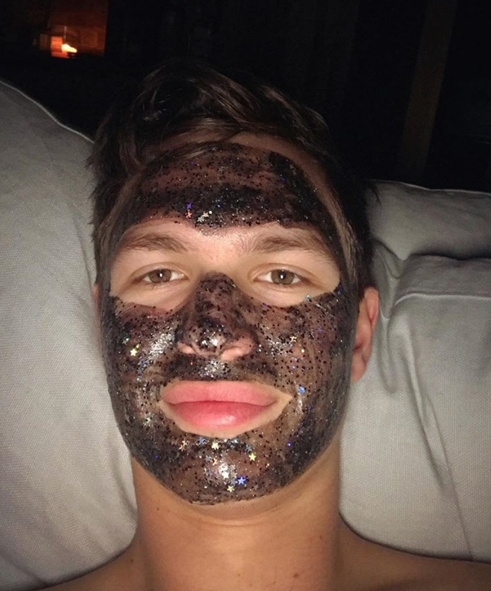 This is where to get the exact glittery face mask Ansel Elgort used on Instagram
