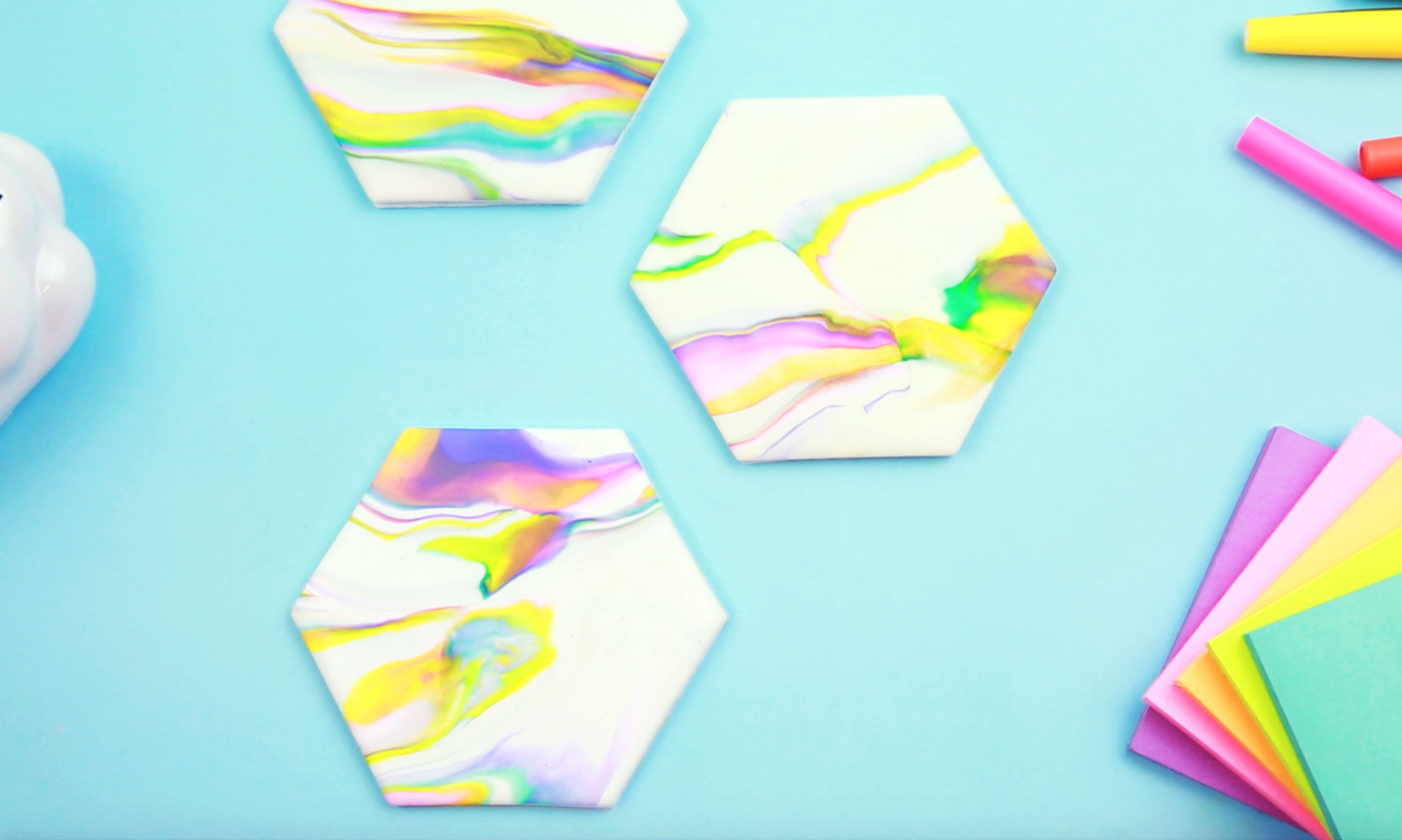 These DIY marble coasters have the rainbow touch your coffee table is missing