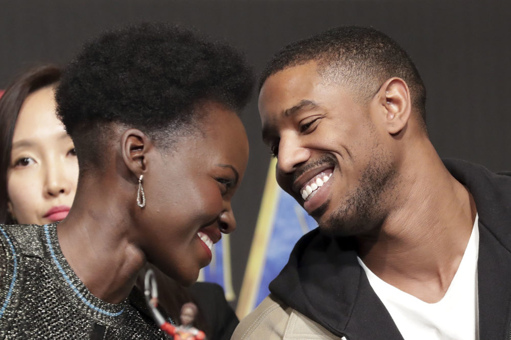 "9 adorable moments between Michael B. Jordan and Lupita Nyong'o during the ""Black Panther"" press tour"