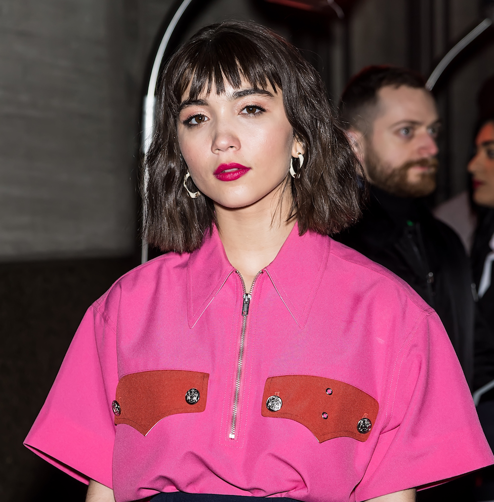 Rowan Blanchard wore faux bangs, and this is the perfect way to experiment with fringe