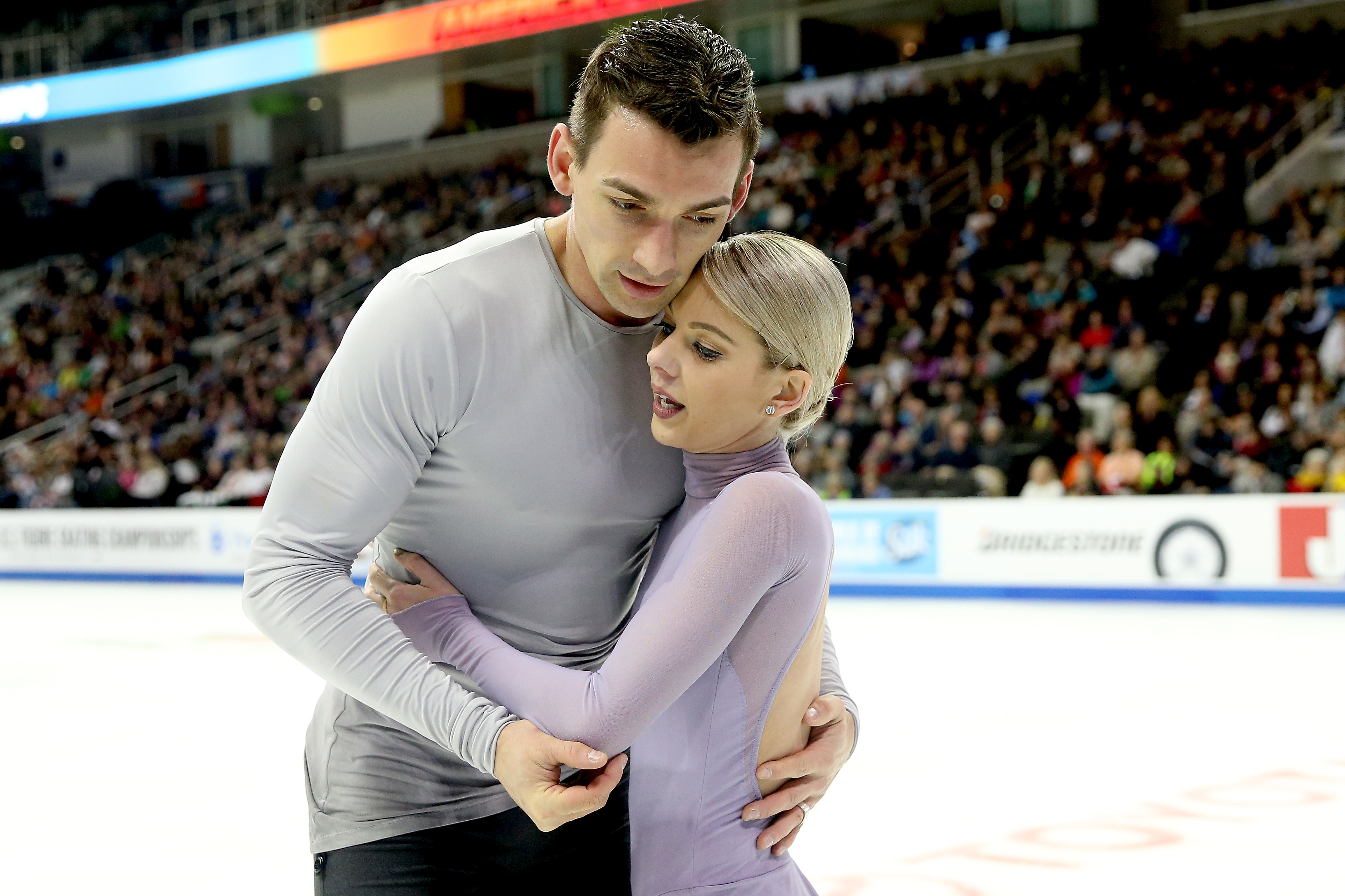 U.S. figure skater Alexa Knierim held back tears while talking about the Florida school shooting