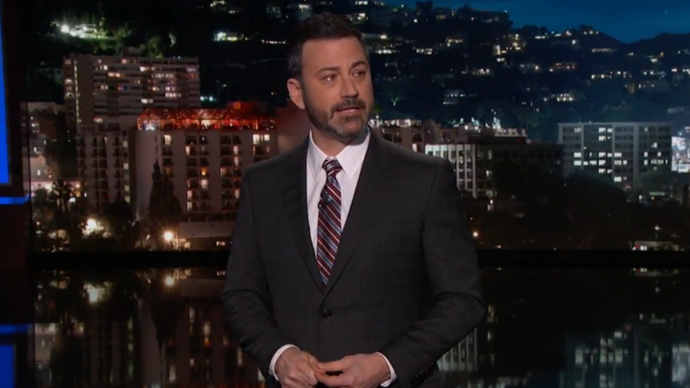 Jimmy Kimmel slammed Trump on gun violence in an emotional monologue