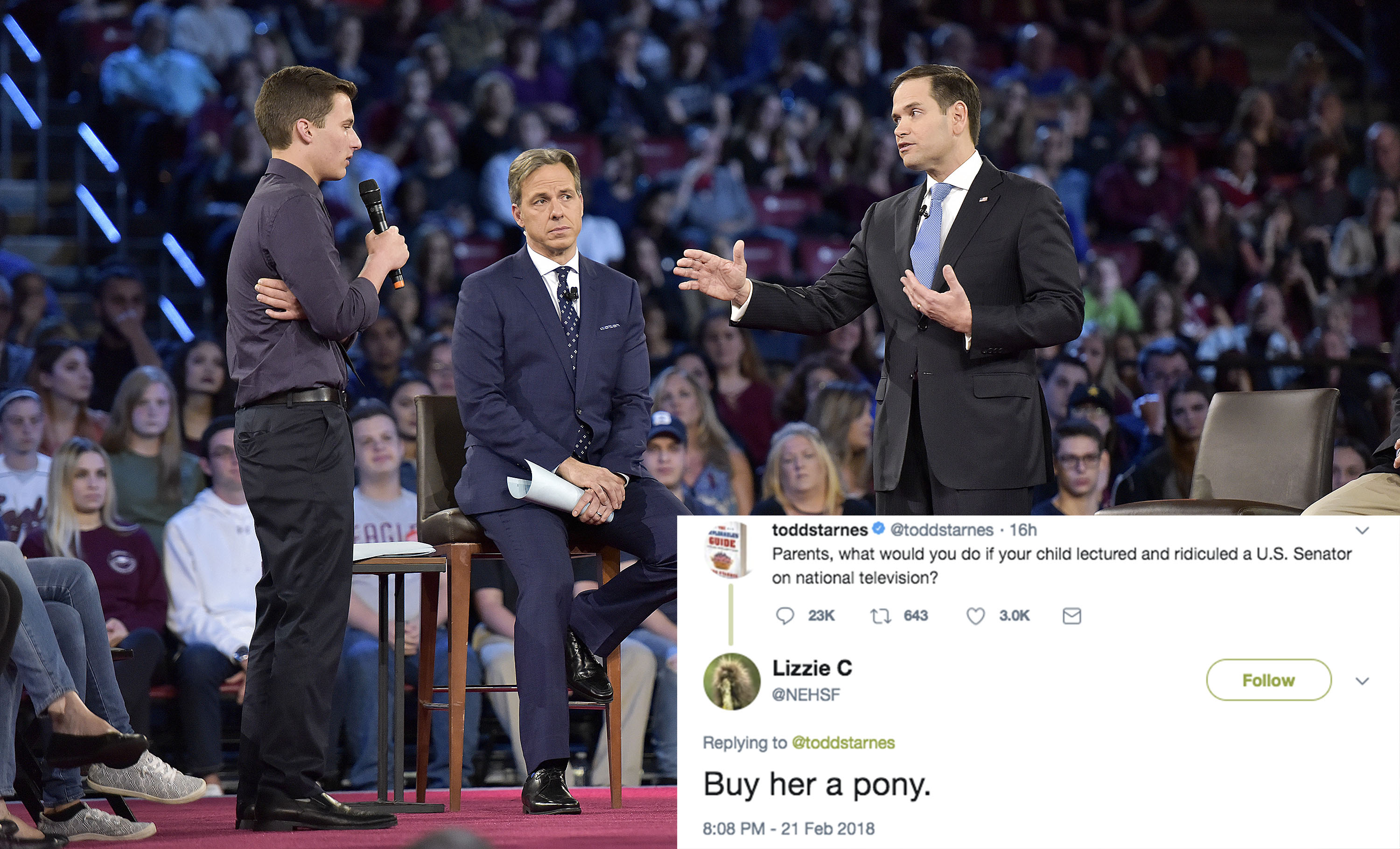 """Parents are sharing what they'd do if their kid """"ridiculed"""" Marco Rubio the way Parkland survivor Cameron Kasky did"""