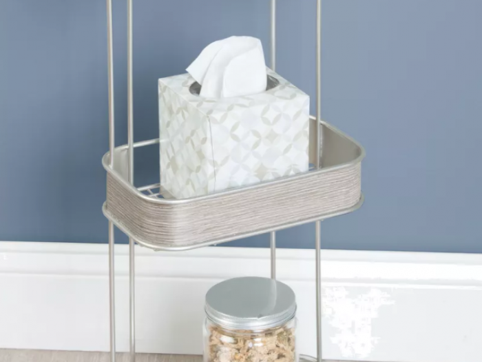 RealWood Free Standing Bathroom Storage Shelves 3 Tiers Satin/Gray Wood Finish