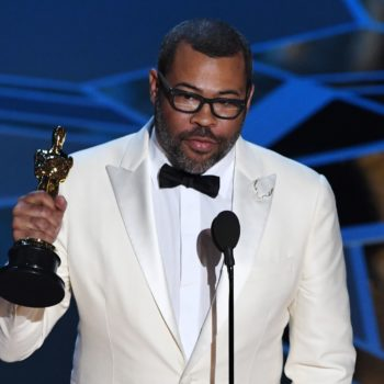 Jordan Peele's Oscar statue is sitting next to the freakiest thing in his house
