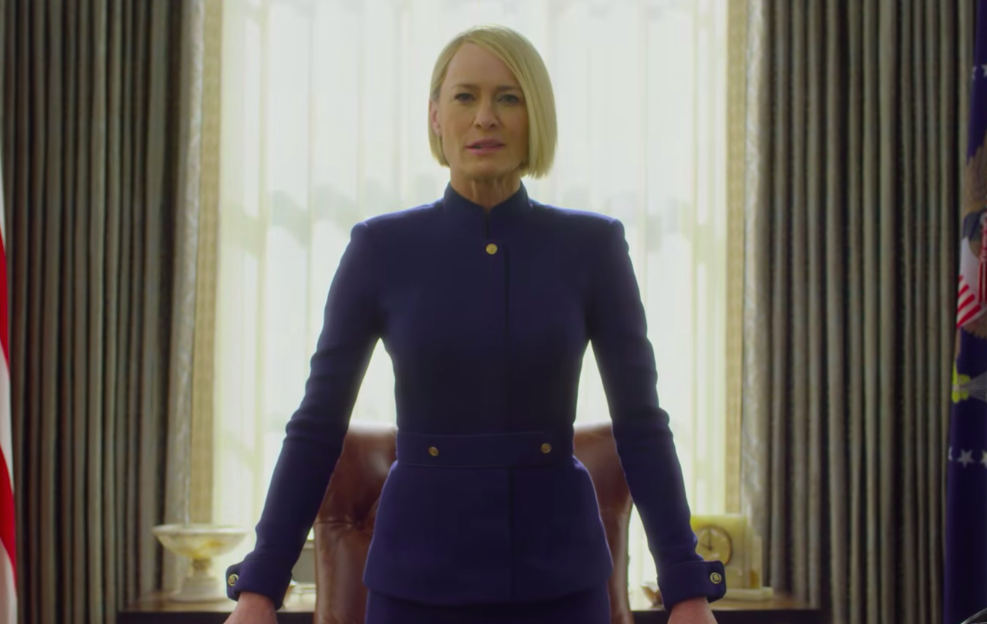 "Why yes, Claire Underwood is wearing a very Hillary Clinton pantsuit in the first ""House of Cards"" teaser"