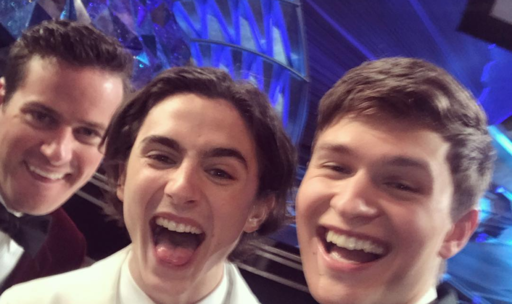 Ansel Elgort, Timothée Chalamet, and Armie Hammer hung out at the Oscars, and the photo is the Eighth Wonder of the World