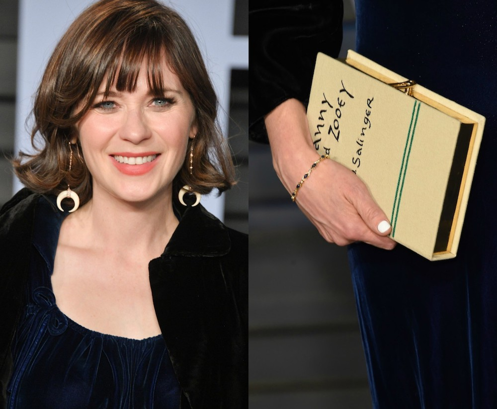 Zooey Deschanel's clutch at the 2018 Oscars after-party was a replica of the book that inspired her name
