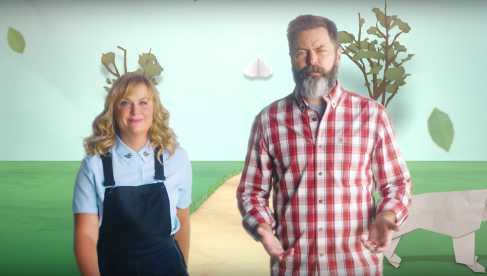 The promo for Amy Poehler and Nick Offerman's new TV show is here, and in it, they make crafts and fly!