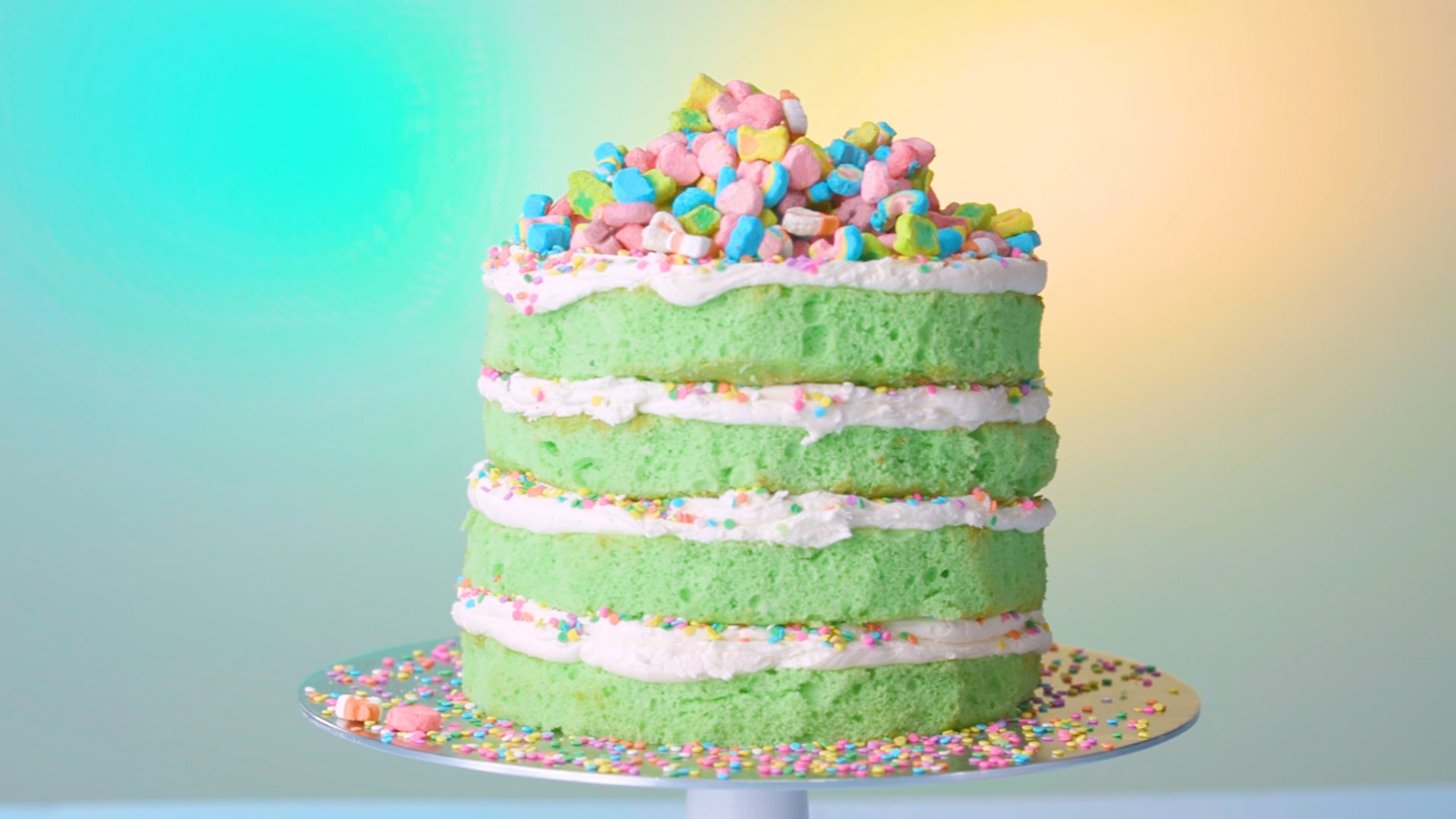 St. Patrick's Day will be magically delicious with this marshmallow-frosted Lucky Charms cake