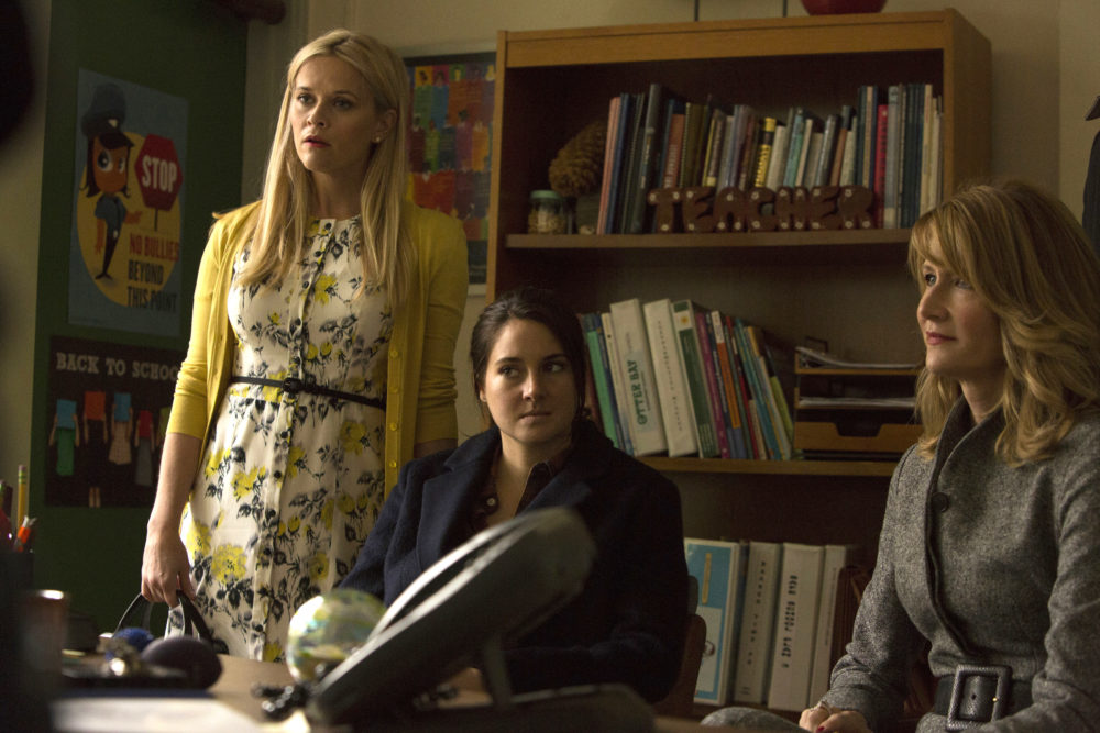 "Madeline and Renata are clearly scheming in the first picture from ""Big Little Lies"" Season 2, so please keep your kids at home"