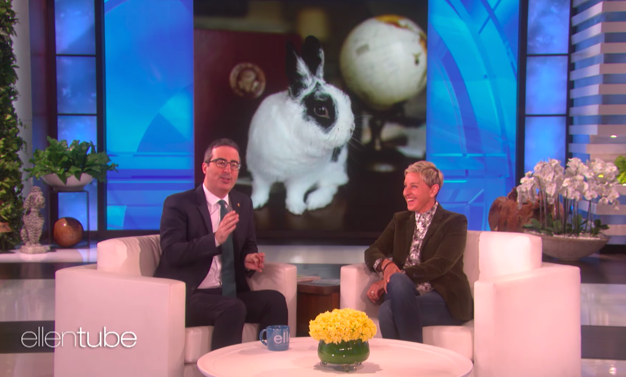 "Ellen DeGeneres is ""happier than I can even tell you"" about John Oliver's gay bunny book"