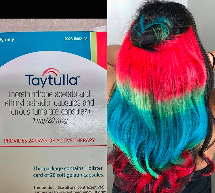 This woman's rainbow-colored hair was inspired by her birth control's packaging