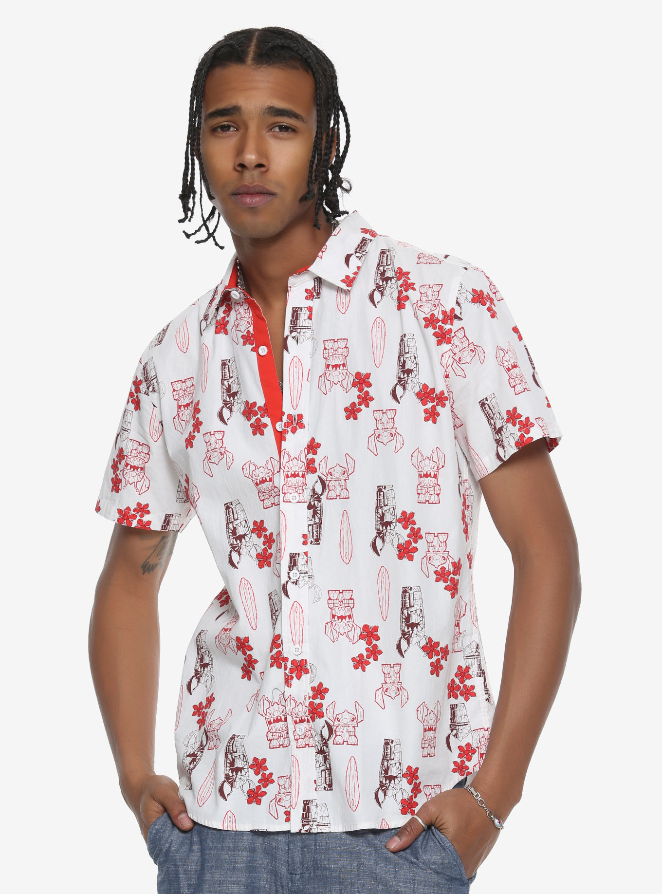 d1ab2079 2Our Universe Disney Lilo & Stitch Tiki Short-Sleeve Woven Button-Up,  $39.90 – $41.